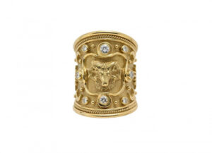 Gold tapered Zodiac ring with Aries motif and diamonds; fine jewellery London
