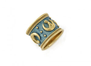 Gold zodiac band ring with Virgo motifs and grey-blue enamel; fine jewellery London