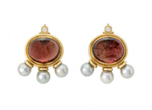 Gold African Queen earrings with pink tourmalines, diamond and grey pearls; fine jewellery London