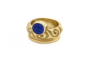 Molten gold ring with lapis engraved intaglio ; fine jewellery London
