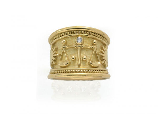 Gold tapered templar ring with libra motif and diamonds; fine jewellery London