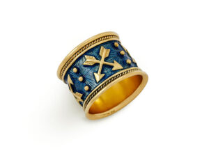 Gold zodiac band ring with Sagittarius motif and pale blue enamel; fine jewellery London