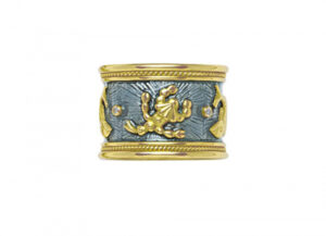 Gold zodiac band ring with diamonds, grey enamel and Pisces and Scorpio motifs; fine jewellery London