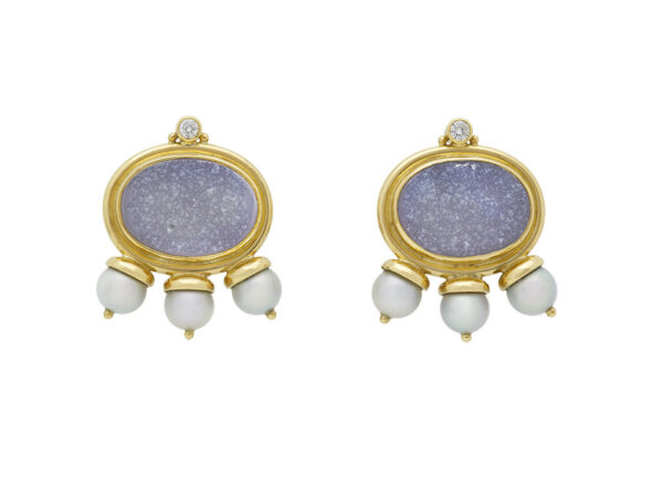 Gold African Queen earrings with dressy chalcedony, grey pearls and diamonds; fine jewellery London