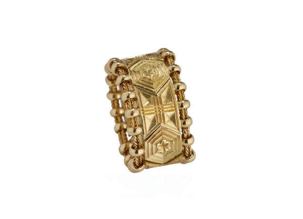 Gold Agincourt hand-carved ring; fine jewellery London