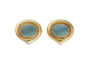 Gold earrings with aquamarines; fine jewellery London