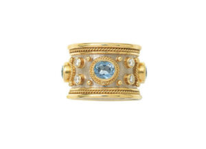Yellow and white gold templar ring with aquamarines and diamonds; fine jewellery London
