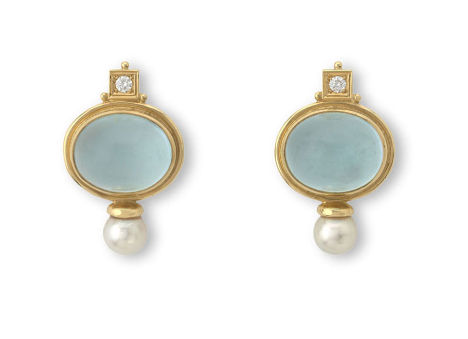 Aquamarine Valois Earrings With Diamonds And Pearls Eva23866