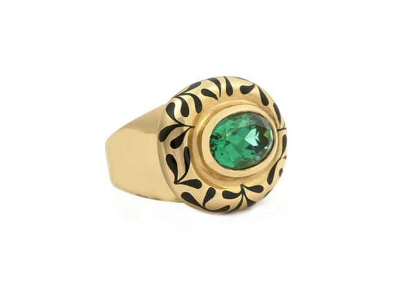 Black-seaweed-enamel-oval-faceted-green-tourmaline-orlov-ring-laying-down-ORV21984_4e2d545c-733d-4e81-b6d4-dedcc8d058a0