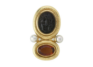 Black-tourmaline-carved-janus-head-pin-with-madeira-citrine-and-diamonds-PIN16785