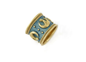 Blue-enamel-Virgo-zodiac-band-ZBE16