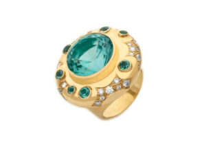Gold ring with blue-green tourmalines and diamonds; fine jewellery London