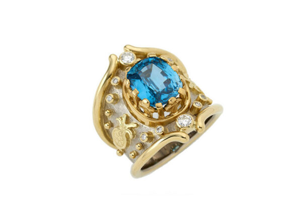 Yellow and white gold Heliotrope ring with blue zircon, diamonds, beads and pomegranate motif; fine jewellery London