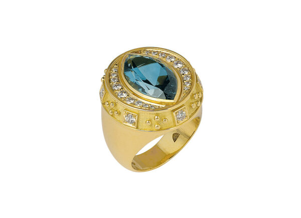 Gold Charlemagne ring with blue-grey tourmaline and diamonds; fine jewellery London