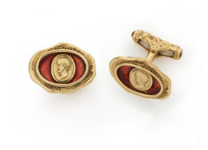 Gold cufflinks with gold cameo and red enamel; fine jewellery London
