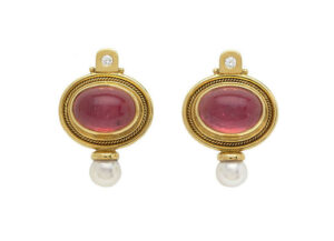 Cabachon-Rubellite-Valois-earrings-set-with-diamonds-and-akoya-pearls-EVA23750