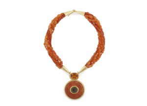 Carnelian-beaded-necklace-with-Faceted-Citrine_-coral-and-bronze-coin-NCO25816-600×434