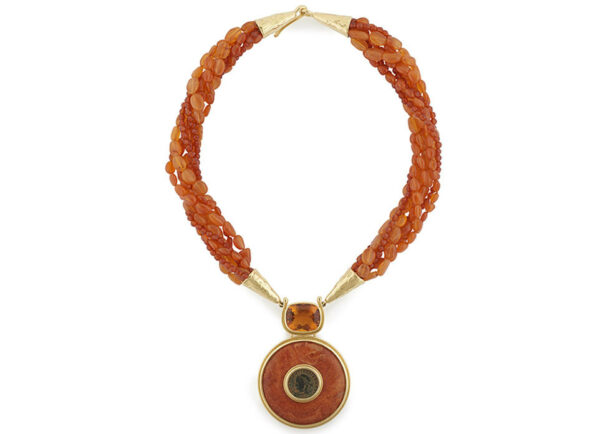 Carnelian-beaded-necklace-with-Faceted-Citrine_-coral-and-bronze-coin-NCO25816