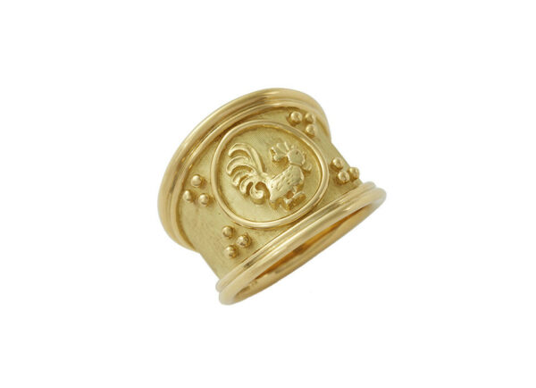 Gold zodiac tapered ring with rooster motif; fine jewellery London