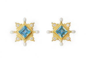 Gold cross earrings with aquamarine and diamonds; fine jewellery London
