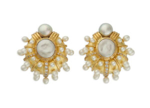 Gold earrings with Biwa pearls, Akoya pearl and diamonds; fine jewllery London
