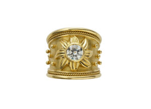 Gold Sun ring with old cut diamond; fine jewellery London