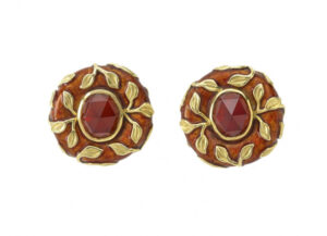 Gold earrings with red-brown garnets, gold leaf motifs and brown enamel; fine jewellery London
