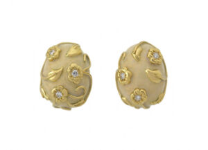Gold bombé earrings with diamonds, flower and myrtle leaf motifs and opalescent enamel; fine jewellery London