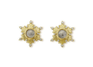 Gold earrings with silver Himyarites coins and diamonds; fine jewellery London