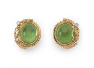 Peridot, diamond and oak leaf earrings