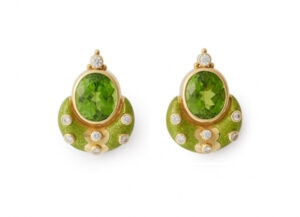 Gold Eleanor earrings with peridots, diamonds and green enamel; fine jewellery London