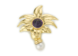 Gold acanthus pin with amethyst an baroque pearl; gold brooch; fine jewellery London