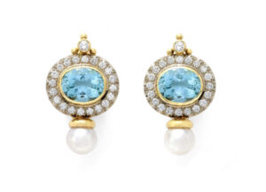 Yellow and white gold Valois earrings with aquamarine, pearl and diamonds; fine jewellery London