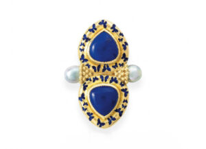 Gold Arcadia pin with lapis, blue enamel and silver pearls; gold brooch; fine jewellery London