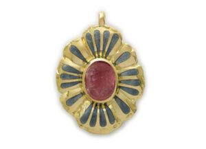 Gold pendant with carved rubellite cameo and gold flower petals; fine jewellery London