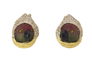 Elizabeth_Gage_Diamond_Tourmaline_Parrot_Heads_Earrings_EMS25546