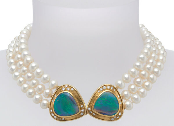 Pearl necklace with black opals, diamonds and 22ct gold setting; fine jewellery London