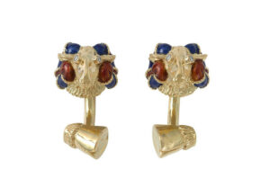Gold Ram cufflinks with red and blue enamel and diamonds; fine jewellery London