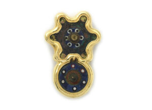 Gold pin with Roman bronzes, original enamel and molten gold; gold brooch; fine jewellery London