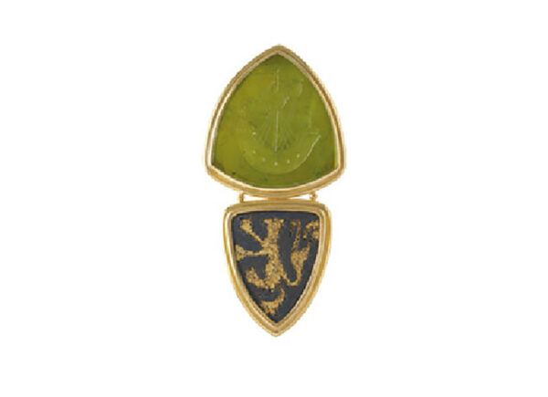 Gold pin with green tourmaline intaglio and bronze pendant; gold brooch; fine jewellery London
