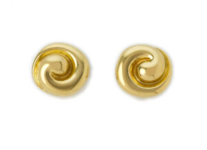 Gold spiral stud earrings; fine jewellery London