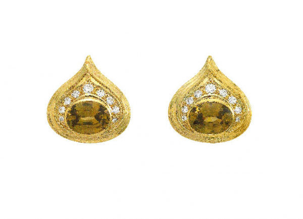 Gold Isfahan earrings with golden zircons and diamonds; fine jewellery London