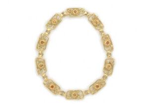 Mandarin Garnet Plaque Necklace