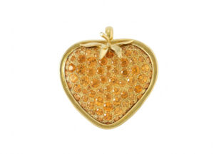 Gold strawberry pendant with mandarin garnets; fine jewellery London