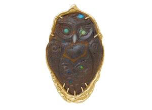 Elizabeth_Gage_Noche_Owl_Carved_Opal_Pin_PIN25567