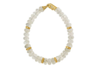Gold necklace with rock crystal beads and gold roundels; fine jewellery London
