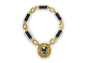 Gold necklace with Romano-Celtic bronze and turquoise; fine jewellery London