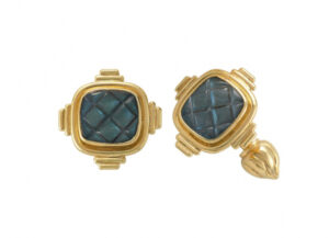 Gold cufflinks with spectroliite and gold motifs; fine jewellery London