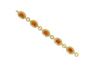 Gold bracelet with sunstones and polished links; fine jewellery London