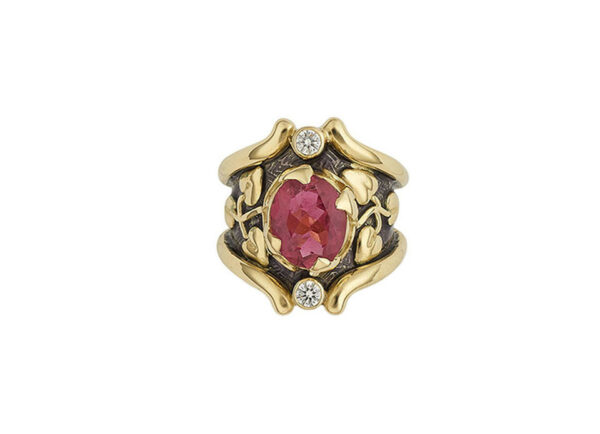 Faceted-Rubellite-Heliotrope–ring-with-purple-enamel-and-diamonds-TOP-VIEW-HEL22571